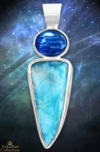 kyanite-larimar-pendant-sterling-silver - ac